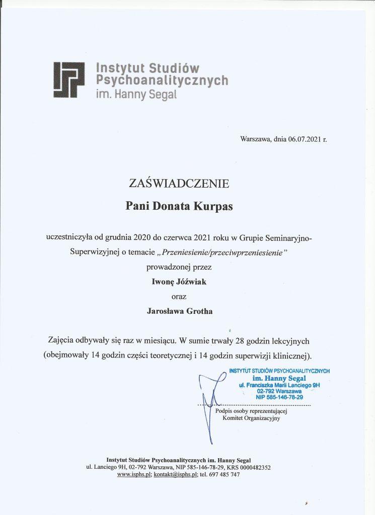 Insytut Studioów Psychoanalitycznych Donata Kurpas kurs
